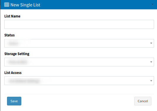 Phone number lists - add new single list-1